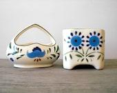 Vintage floral ceramic dish set / folk style / farm house style decor / blue flowers / sage green / cream white / trinket dish set / rustic