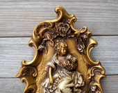 Vintage / Home Decor / Wall Hanging / shabby cottage chic / Victorian style / gold / French country / plaster / ornate / romantic