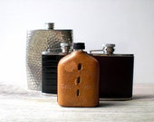 Vintage flask set / liquor bottles / instant collection / brown leather / rustic / masculine home decor / man cave / den decor / brown