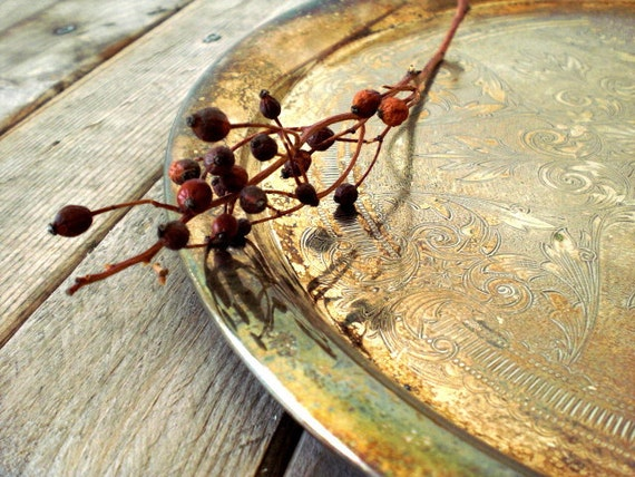 Vintage silverplated tray. Holiday table serving. Shabby chic. Rustic. Time worn patina.