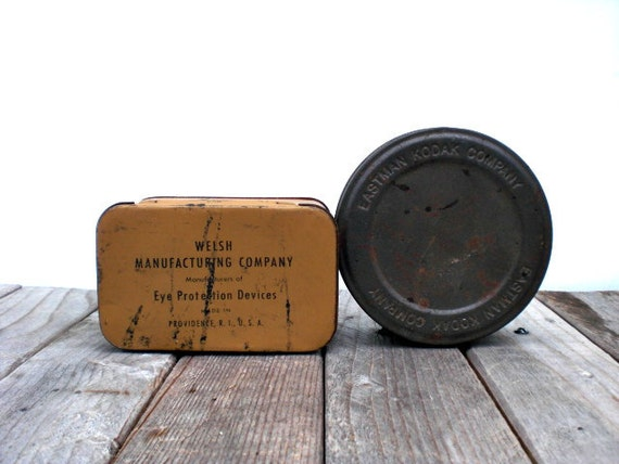 Vintage industrial tins / Kodak Eastman /  masculine / repurposed gift boxes / man cave / home office decor / minimalist / retro / patina