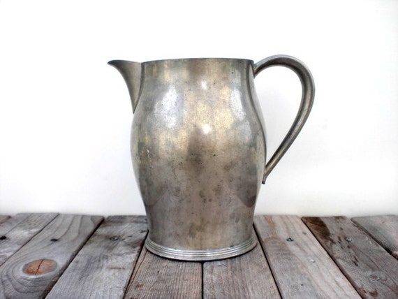 Vintage pewter pitcher. Insico pewter. Rustic farmhouse home decor.