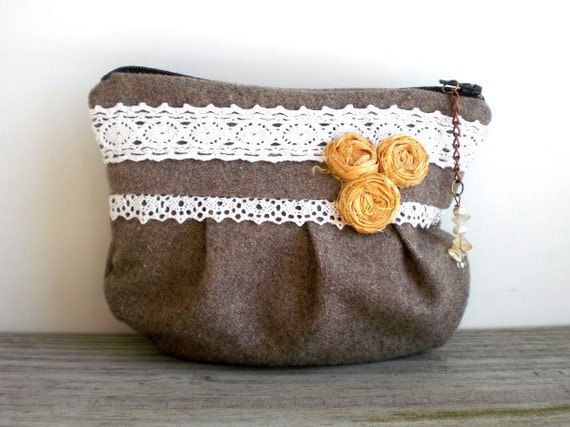 Cottage chic zipper purse / vintage wool / rustic / cotton print / Victorian inspired / romantic / yellow silk / white lace / stone beige