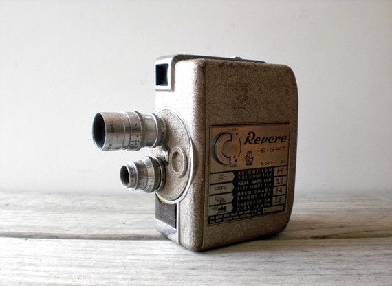 Vintage / Electronics / Camera / Revere 8 mm movie camera / industrial retro / masculine home decor / collectable / camera geek / gray metal