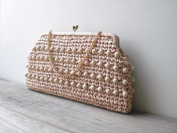 Vintage / Bags and Purses / Clutch / retro / mod / beaded / straw / Simon / 1960s / cocktail party / made in Japan
