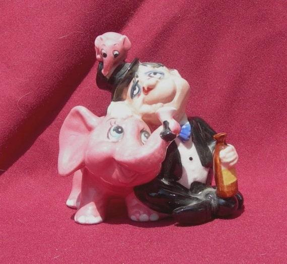 Mid Century Ceramic Drunk with Pink Elephants Figurine