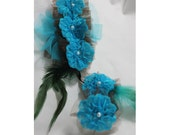 Turquoise  Hair Accessories fabric and feather   for Special Occassions.