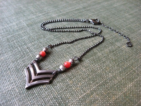 Silver Chevron Necklace Orange Beads Gunmetal Ball Chain