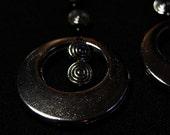 Silver multi dimension dangle loop earrings