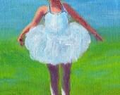 ORIGINAL Art little ballerina painting acrylic canvas on board 3 1/2 x 5