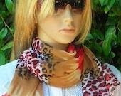 Long Scarf - lightweight Scarf - Scarf Silky Chiffon - bow - leopard  - gray - yellow - red - black