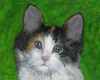 ORIGINAL Art Cat painting acrylic 3 1/2 x 5 mother's day gift