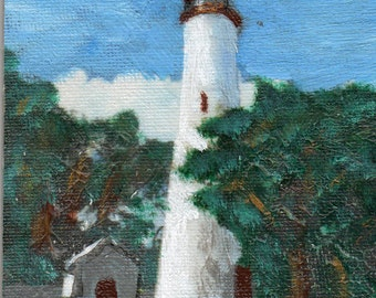 ORIGINAL Art  Lighthouse small painting acrylic 4 X 4 mother's day