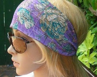 Women's wide hair band- Stretch Turban Headband -  urban turban head wrap headband Purple multi -color