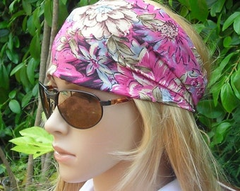 SALE Floral Stretch Turban Headband - Women's wide hair band urban turban head wrap headband -Multi-Color - pink