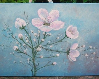 Original Large Textured Blue Abstract Painting Pink Flowers Contemporary Modern Palette Knife Fine Art 48x24
