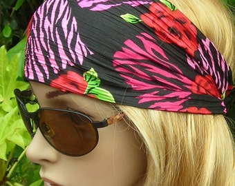 Women's wide hair band- Stretch Turban Headband -  urban turban head wrap headband Red pink black green