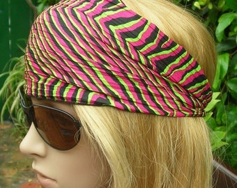 Women's wide hair band- Stretch Turban Headband -  Tribal  turban head wrap headband black, green, fuchsia