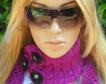 Crocheted neck warmer -ear warmer- headband - Headwrap - Adjustable- 3 black fur accent accessories
