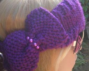 Knitted Headband -Headband - Ear Warmer Headband- head bands Hair Coverings headwrap with bow and pearls