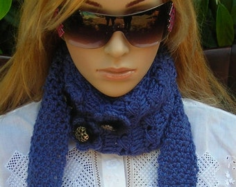 Crocheted ear warmer-  headband  - Headwrap - Adjustable-  neck warmer-  black fur accent accessories and  italian buttons