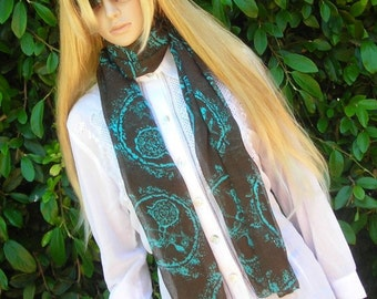Long Scarf - lightweight cotton Scarf  - chiffon- brown and turquoise