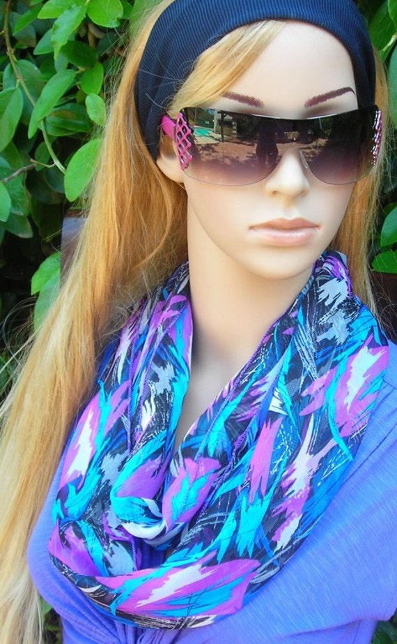 infinity Scarf  Infinity Scarf Silky Chiffon  Necklace Scarf  abstract blue pink  multi color