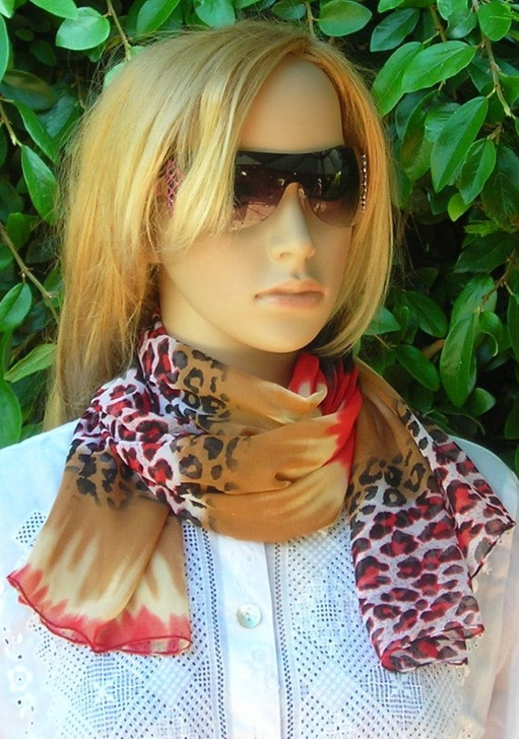 Long Scarf - lightweight Scarf - Scarf Silky Chiffon - bow - leopard  - gray - yellow - red - black