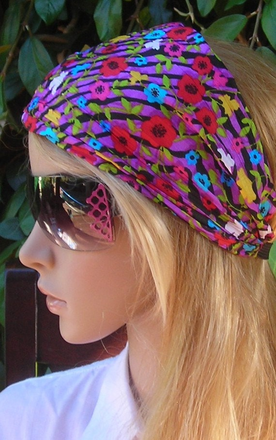 Women's wide hair band- Stretch Turban Headband - urban turban head wrap headband flowers- purple- red- black- multicolor