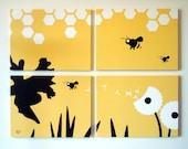 Bee Canvas Print - Honey Bee Wall Art - Animal Painting - Nursery Art - Panel Art - Spring Decor - Bumble Bee Print - Yellow Nursery Print