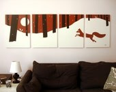 Red Fox Canvas Print - Nursery Art - Red Style - Winter Decor - Christmas Snow Print - Forest Wall Art - Nature Art - Baby Room Wall Art