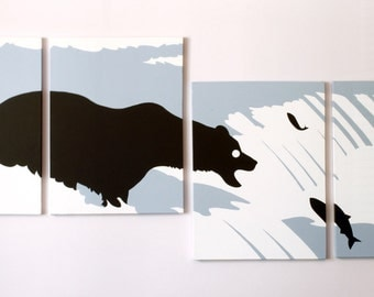 Bear Canvas Print - Grizzly Bear Art - Boys Room Decor - Animal Silhouette - Blue Decor - Fishing Print - Nursery Art - Mama Bear - Nature