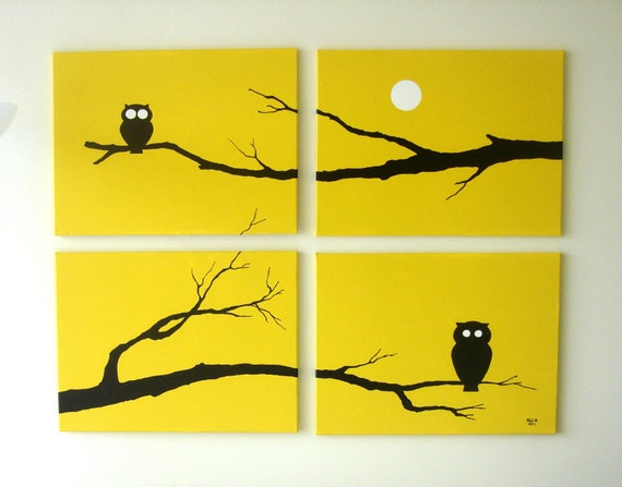 Owl Painting Art - Yellow Owl Silhouette - Fall Decor - Spooky Modern Wall Art 18 x 24 (Set of 4)