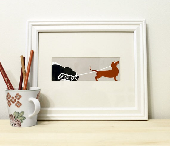 Dachshund Art Print - Pet Portrait - Sausage Dog Poster - Dog Silhouette - Red, Gray, Black & White 5x7