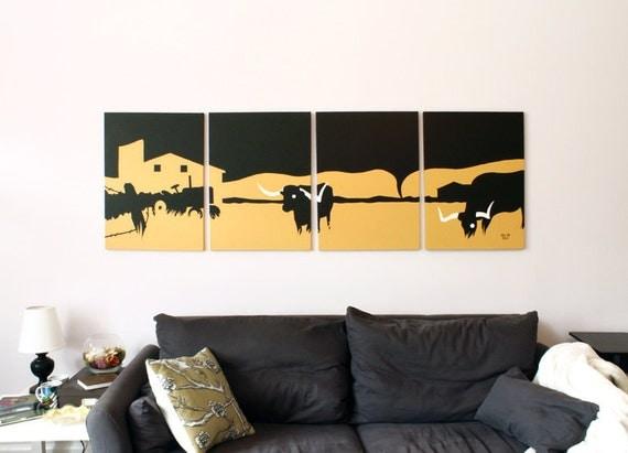 Longhorn Canvas Print Texas Wall Decor Burnt Orange