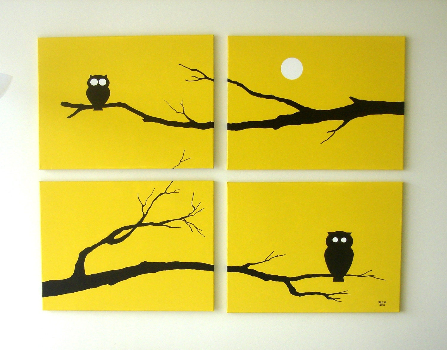 Owl canvas print yellow print animal silhouette fall for White paint going yellow