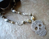 Fine Silver Day of the Dead Sugar Skull Necklace
