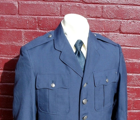 1960s Air Force Uniform Jacket, Vintage Mens Navy Blue Wool United States Air Force USAF Military Jacket 40R - Size MEDIUM