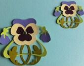 Art Nouveau Pansies with Jewelled Centre.  Die cut paper.  Set of 2.