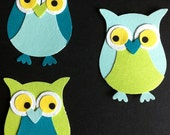 Aqua and green owl die cut paper.  Set of 3.
