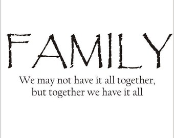Family Quote Large Vinyl Decal Wall Decal Vinyl Wall Decal Family Vinyl Wall Decal Home Decor