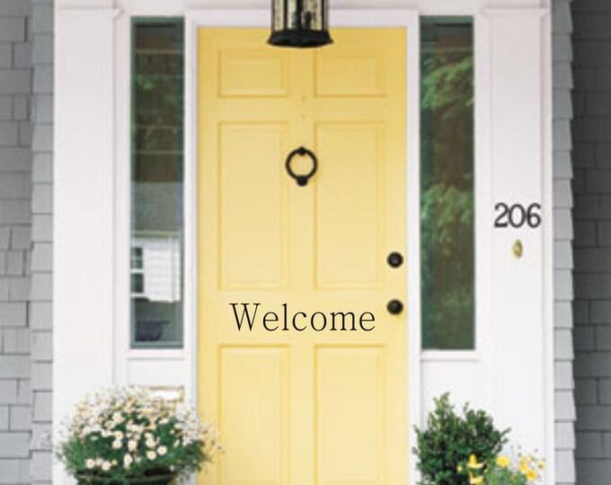 Welcome Door Vinyl Decal Front Door Decal Vinyl Decal Outdoor Vinyl Welcome Door Decal Welcome Front Door Decal Lettering Vinyl Decal Home
