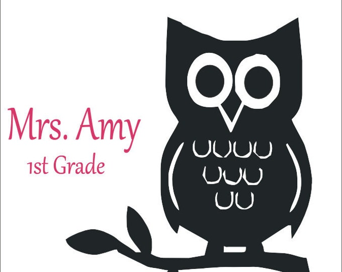 Personalized Vinyl Owl on a Branch Decal Boy Girl Nursery Bedroom Playroom Classroom Decal 11x13