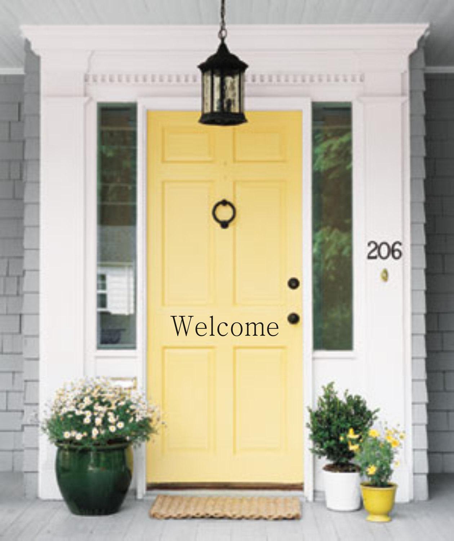 Welcome Door Vinyl Decal Front Door Decal Vinyl Decal Outdoor