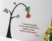 Holiday Card - Christmas Charlie Brown Greeting - Faith Hope Tolerance - Linus Quote - Free Shipping CBC101