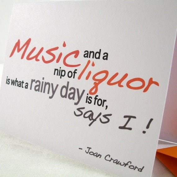 Rainy Day Adult Quotes: Boozy Card Note Greeting Humorous Rainy Day Office