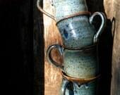 Set of Four Dramatic Ceramic Blue Mugs