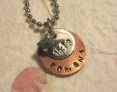 "Hand Stamped ""Romans 15:13"" Or Your Favorite Scripture Copper Necklace With Stainless Dangle and Turquoise Stone"
