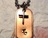 "Hand Stamped ""JC"" Copper Dog Tag Necklace With Silver Cross"