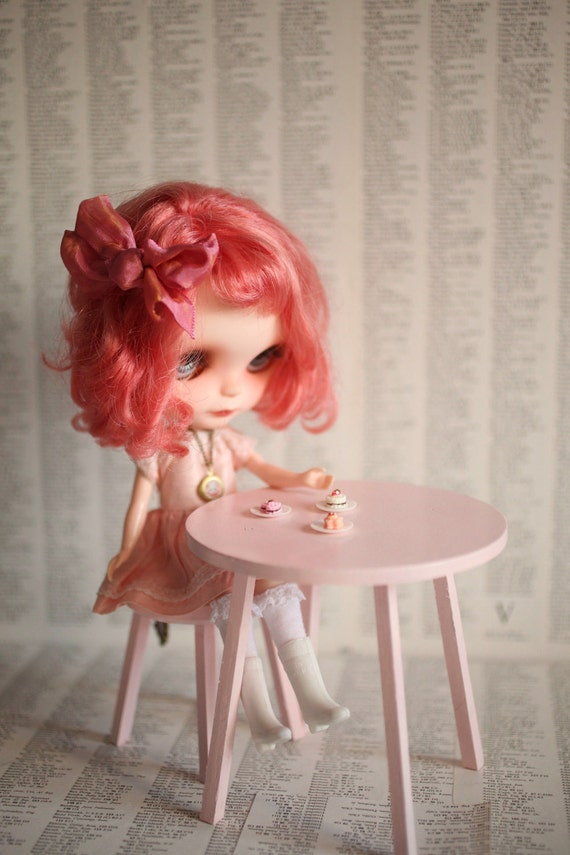 Candy Pink Tea Table and chair set - Jack and Jill custom Handmade Blythe 1/6 scale doll chair and table